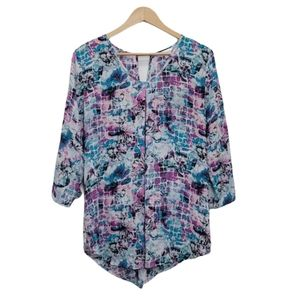 NORTHERN REFLECTIONS Blouse Purple Pink 3/4 Sleeve